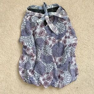 Tops - Ascot collar halter floral blouse